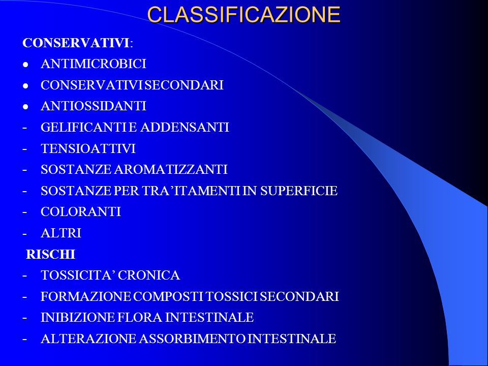 CLASSIFICAZIONE CONSERVATIVI:  ANTIMICROBICI  CONSERVATIVI SECONDARI