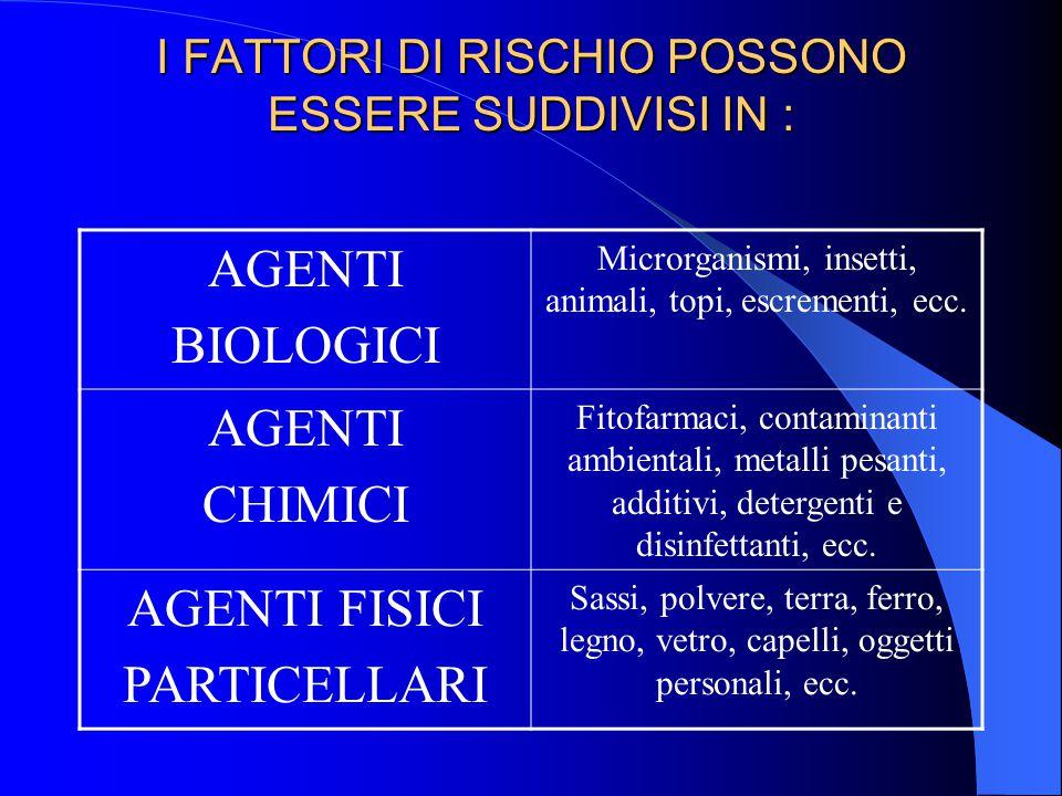 I FATTORI DI RISCHIO POSSONO ESSERE SUDDIVISI IN :
