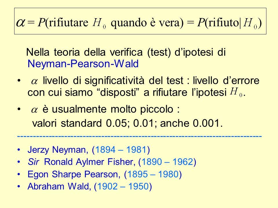 a = P(rifiutare quando è vera) = P(rifiuto| )