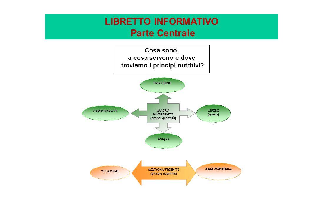 LIBRETTO INFORMATIVO Parte Centrale troviamo i principi nutritivi