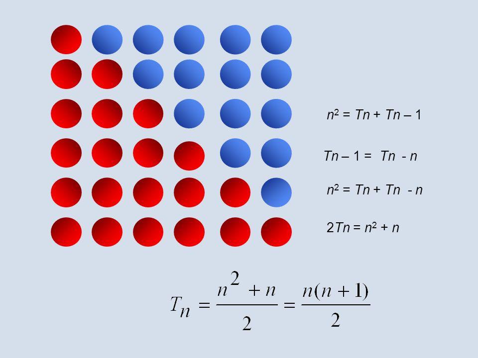 n2 = Tn + Tn – 1 Tn – 1 = Tn - n n2 = Tn + Tn - n 2Tn = n2 + n