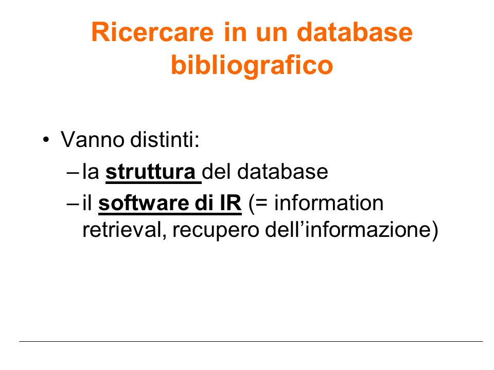 Ricercare in un database bibliografico