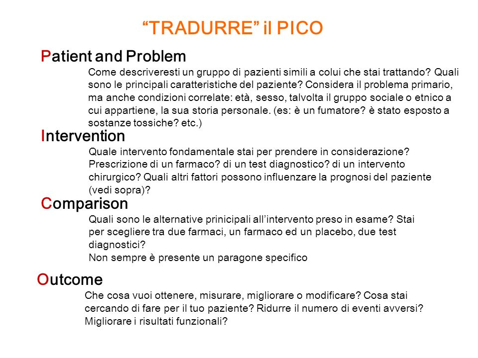 TRADURRE il PICO Patient and Problem Intervention Comparison Outcome