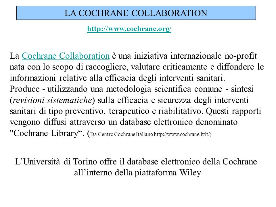 LA COCHRANE COLLABORATION