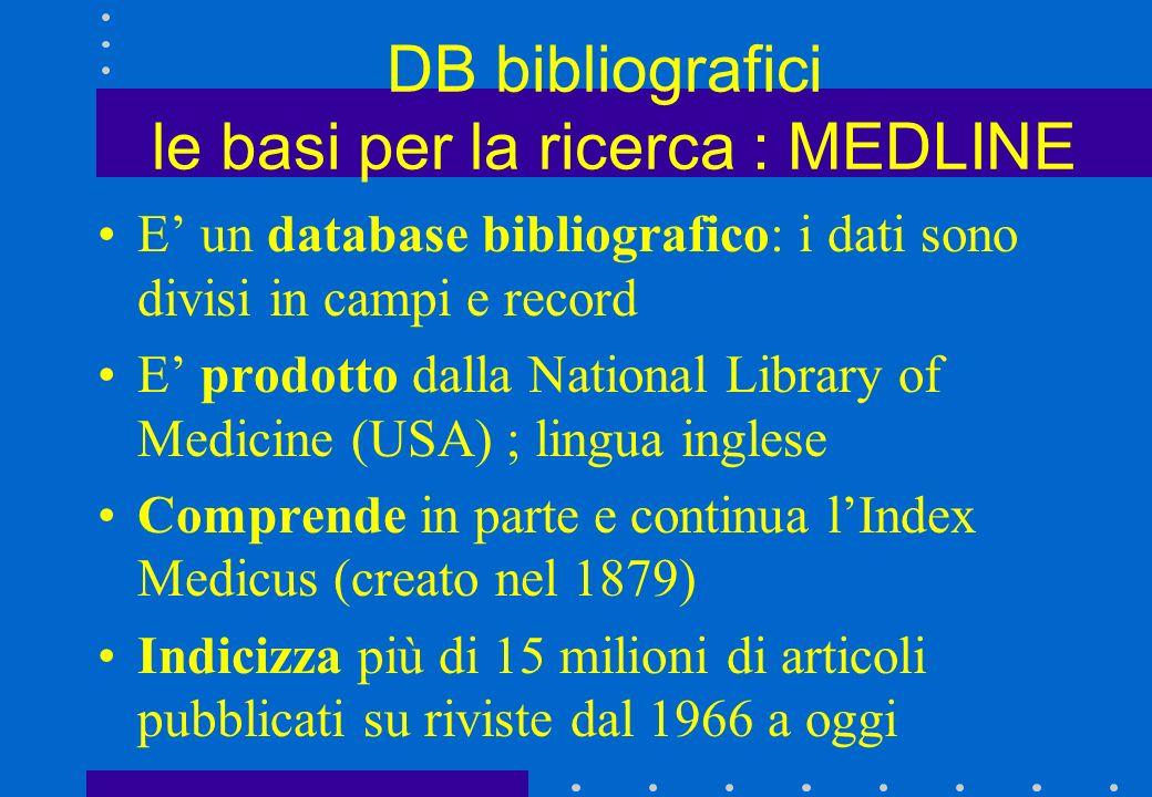 DB bibliografici le basi per la ricerca : MEDLINE