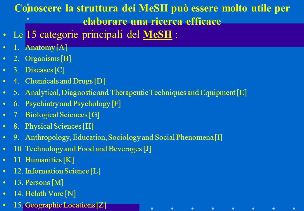 Conoscere la struttura dei MeSH può essere molto utile per elaborare una ricerca efficace