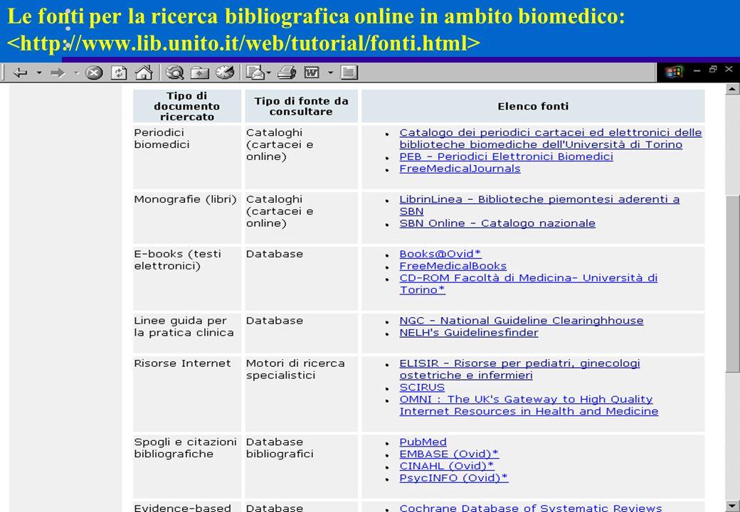Le fonti per la ricerca bibliografica online in ambito biomedico: <http://www.lib.unito.it/web/tutorial/fonti.html>