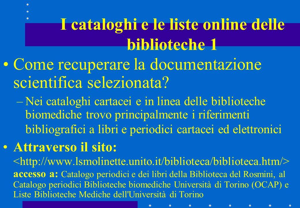 I cataloghi e le liste online delle biblioteche 1