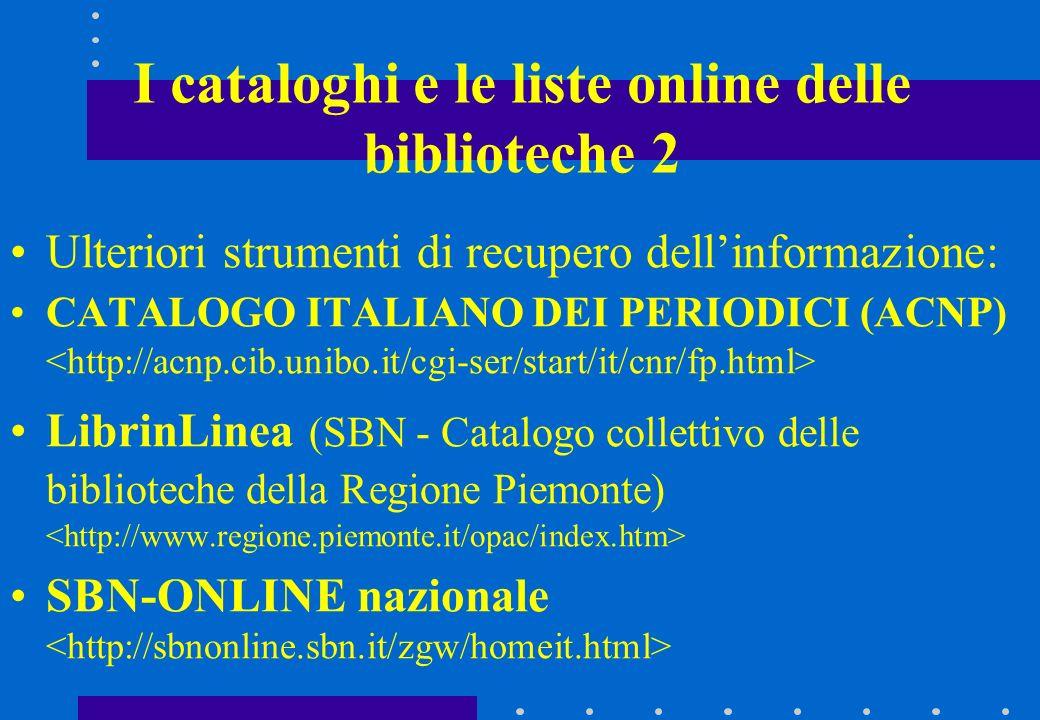 I cataloghi e le liste online delle biblioteche 2