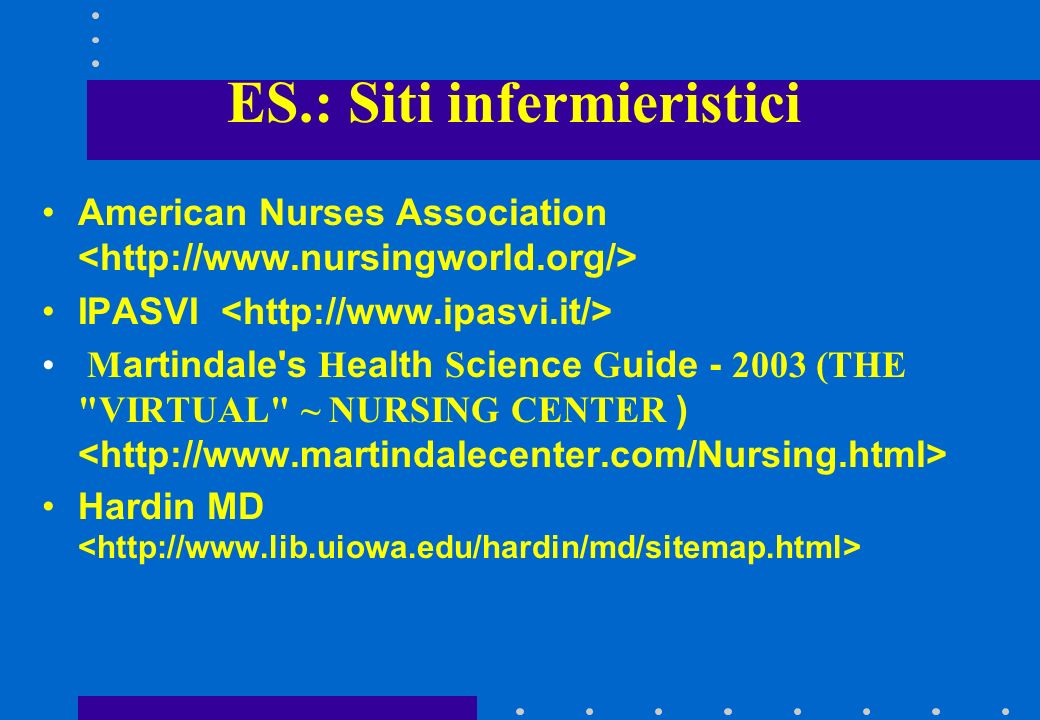 ES.: Siti infermieristici