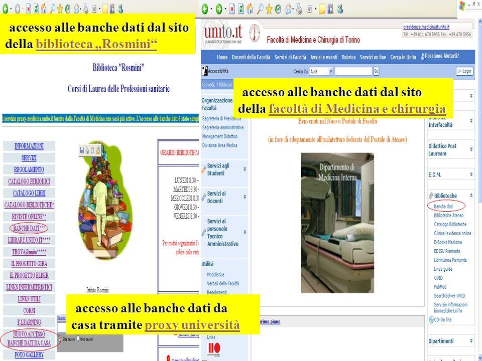 """accesso alle banche dati dal sito della biblioteca """"Rosmini"""