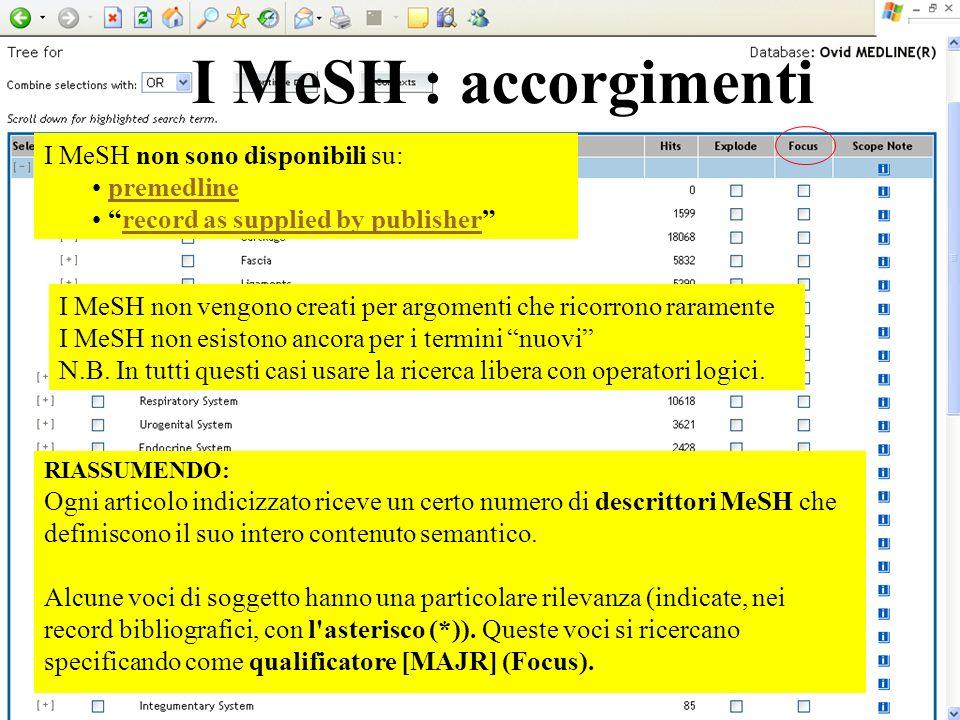 I MeSH : accorgimenti I MeSH non sono disponibili su: premedline
