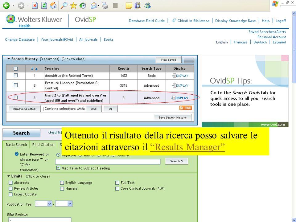 Ottenuto il risultato della ricerca posso salvare le citazioni attraverso il Results Manager