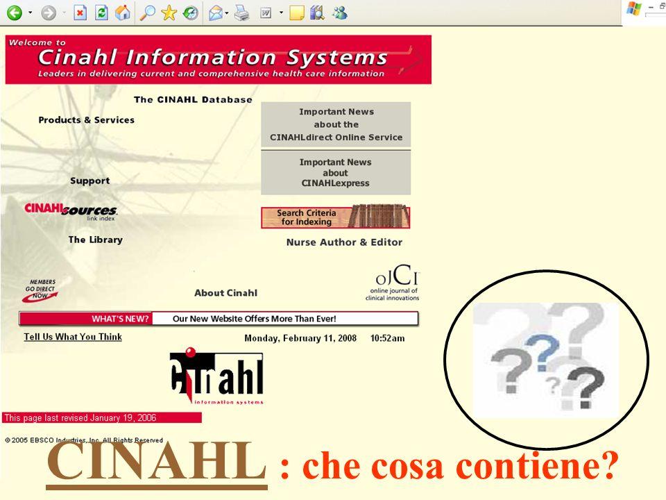 CINAHL : che cosa contiene