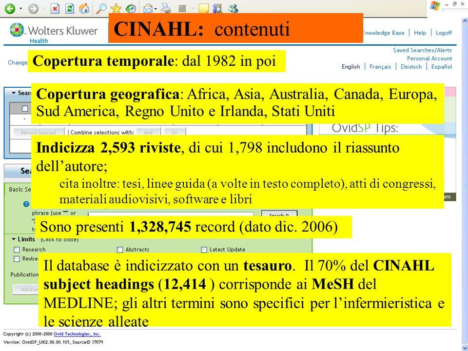CINAHL: contenuti Copertura temporale: dal 1982 in poi