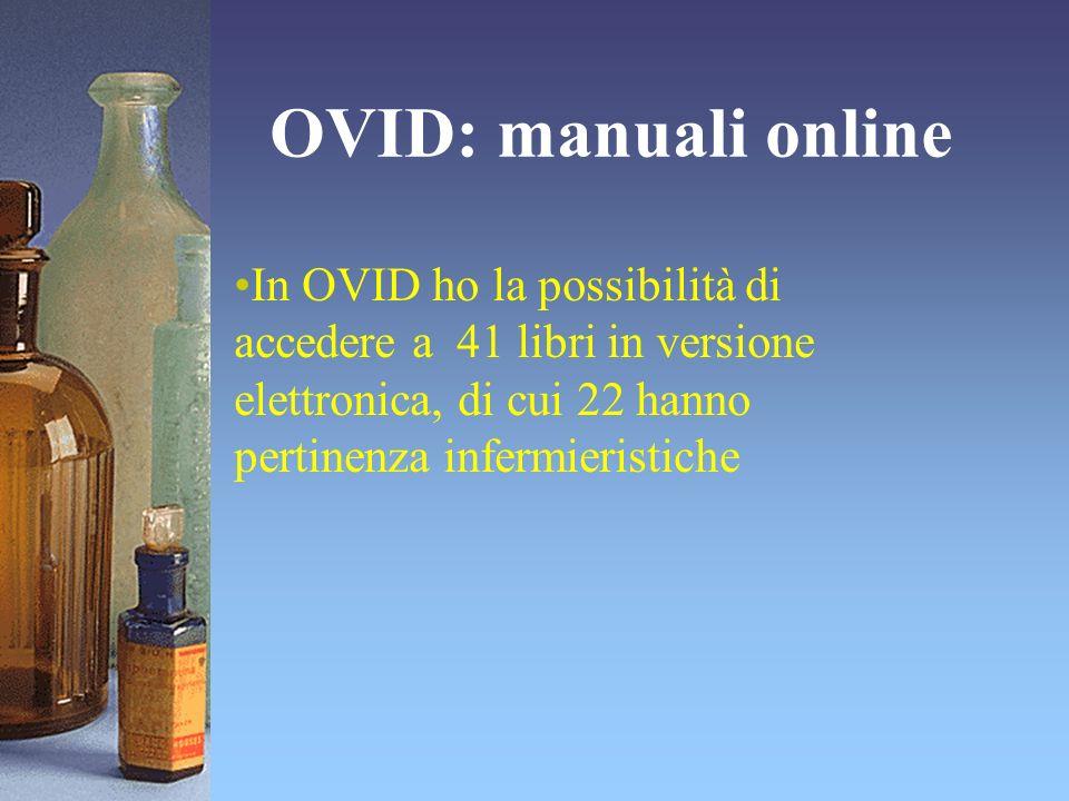 OVID: manuali online In OVID ho la possibilità di accedere a 41 libri in versione elettronica, di cui 22 hanno pertinenza infermieristiche.