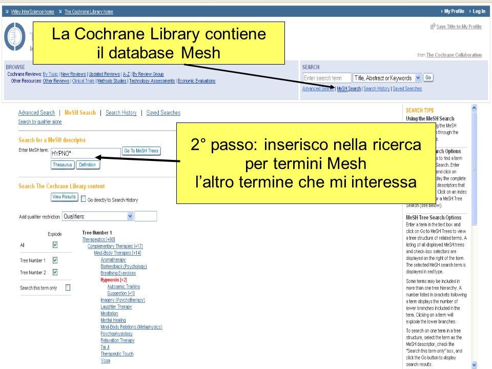 La Cochrane Library contiene il database Mesh