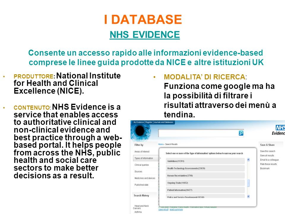 I DATABASE NHS EVIDENCE