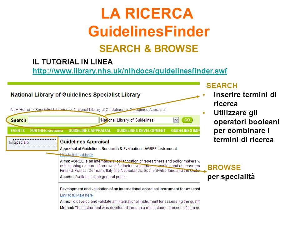 LA RICERCA GuidelinesFinder SEARCH & BROWSE