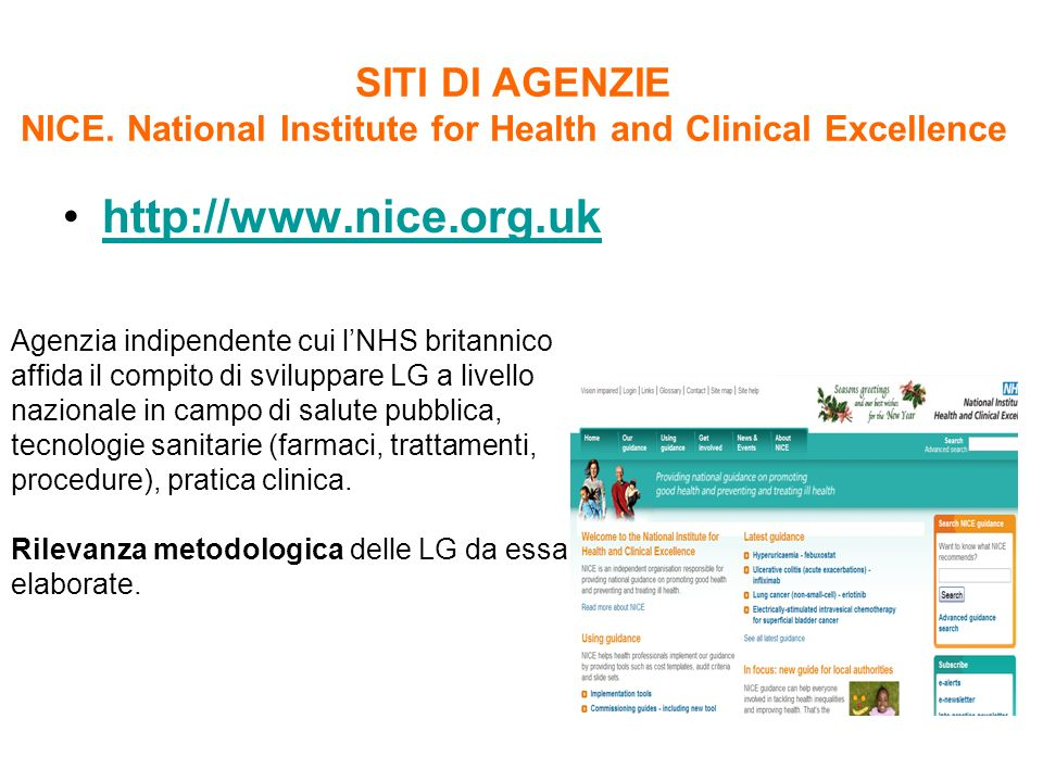 SITI DI AGENZIE NICE. National Institute for Health and Clinical Excellence