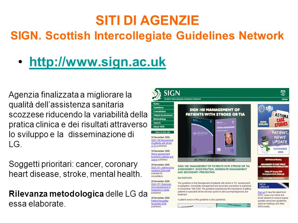 SITI DI AGENZIE SIGN. Scottish Intercollegiate Guidelines Network