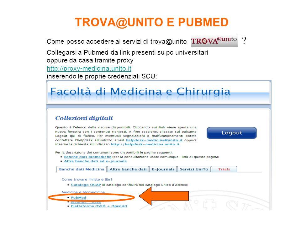 TROVA@UNITO E PUBMED Come posso accedere ai servizi di trova@unito