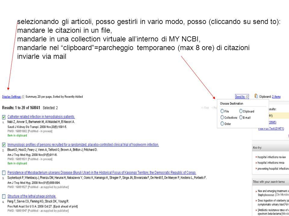 selezionando gli articoli, posso gestirli in vario modo, posso (cliccando su send to):