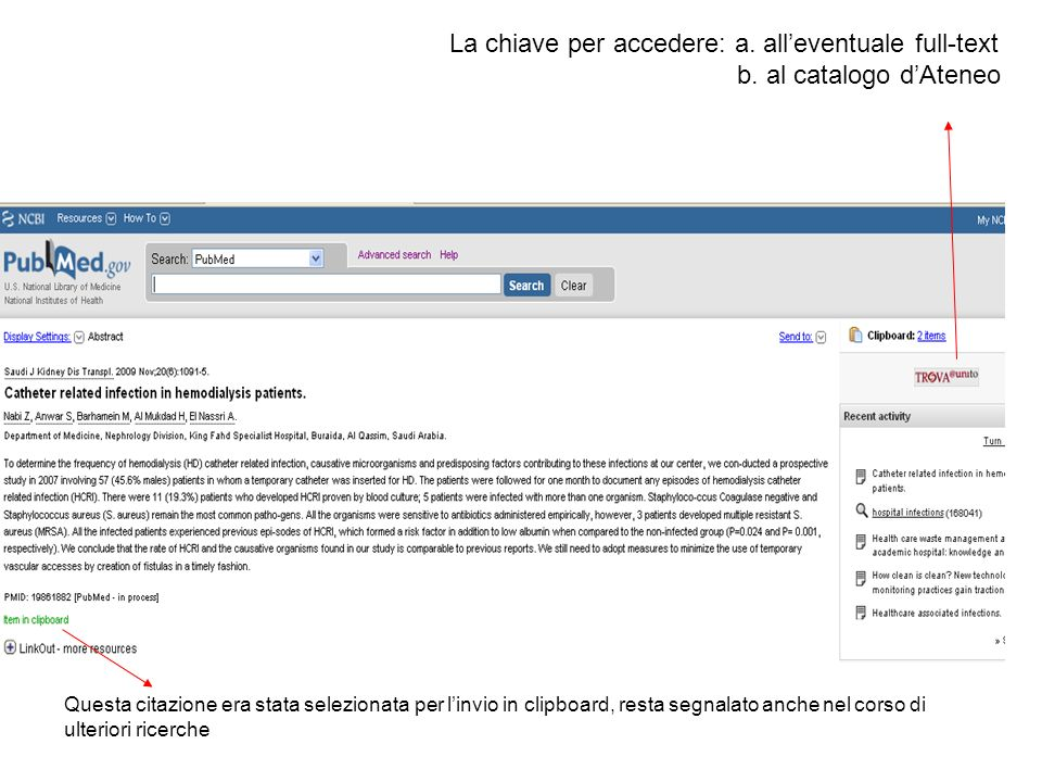 La chiave per accedere: a. all'eventuale full-text