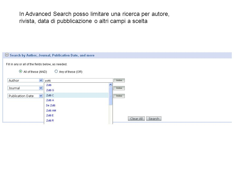 In Advanced Search posso limitare una ricerca per autore,