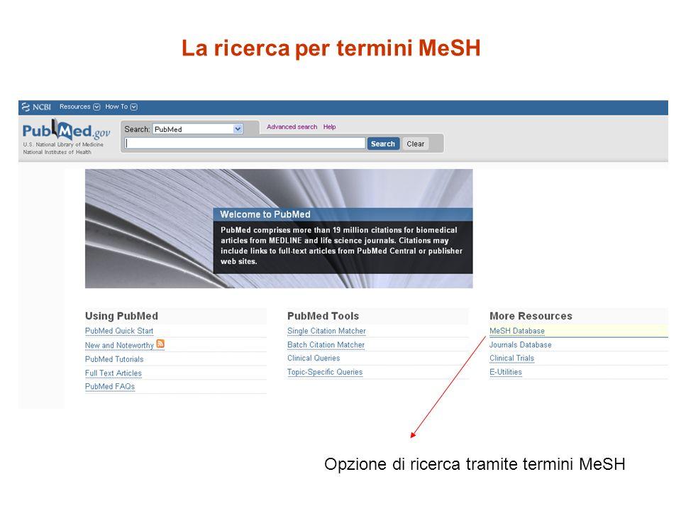 La ricerca per termini MeSH