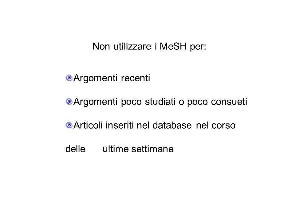 Non utilizzare i MeSH per: