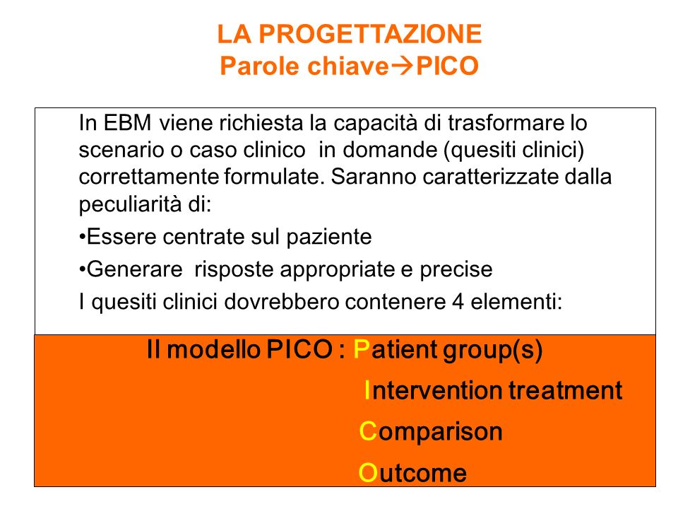 Il modello PICO : Patient group(s) Intervention treatment