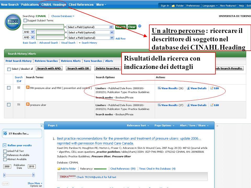 Un altro percorso : ricercare il descrittore di soggetto nel database dei CINAHL Heading