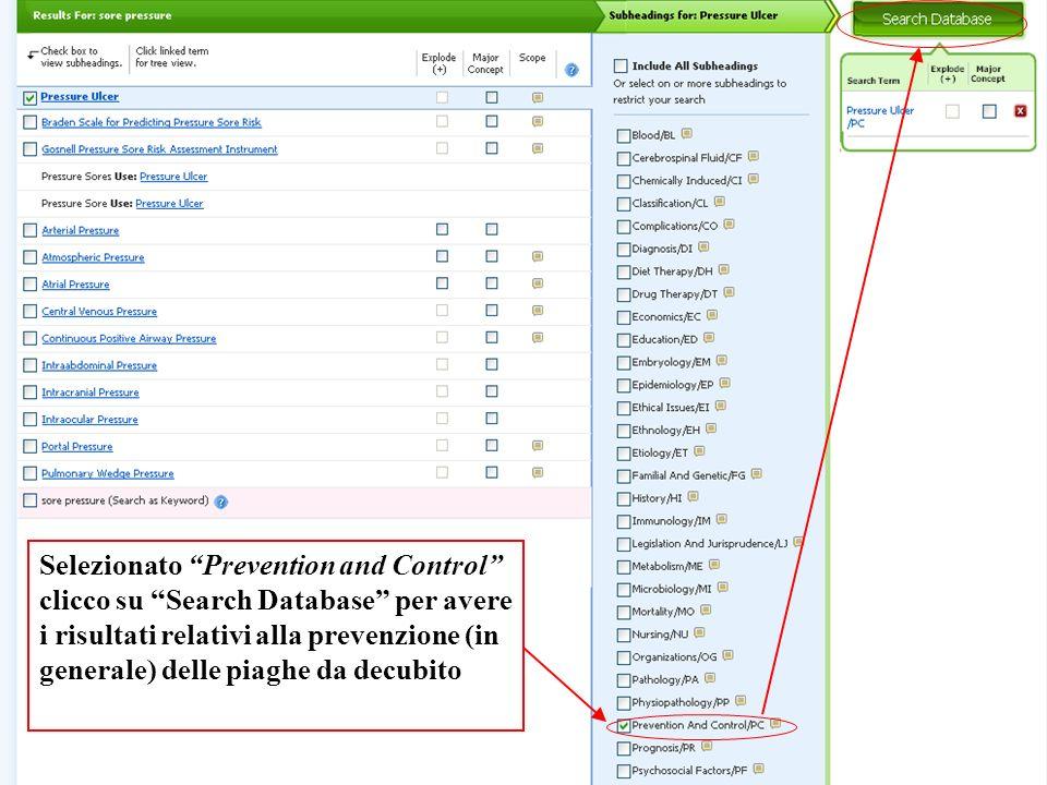Selezionato Prevention and Control clicco su Search Database per avere i risultati relativi alla prevenzione (in generale) delle piaghe da decubito