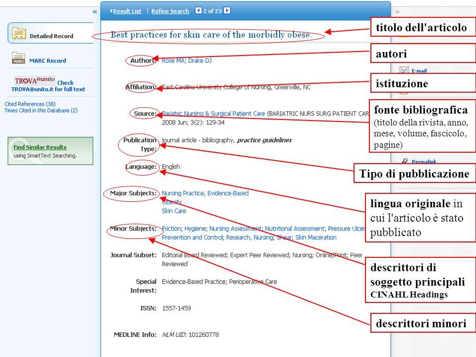 titolo dell articolo autori. istituzione. fonte bibliografica (titolo della rivista, anno, mese, volume, fascicolo, pagine)