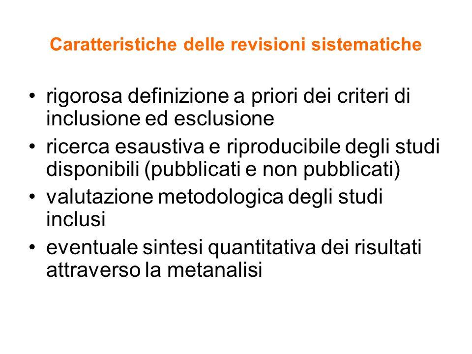 Caratteristiche delle revisioni sistematiche