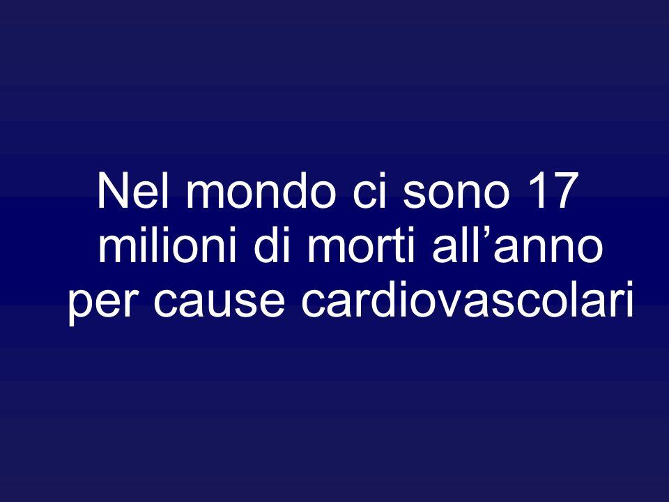 Nel mondo ci sono 17 milioni di morti all'anno per cause cardiovascolari