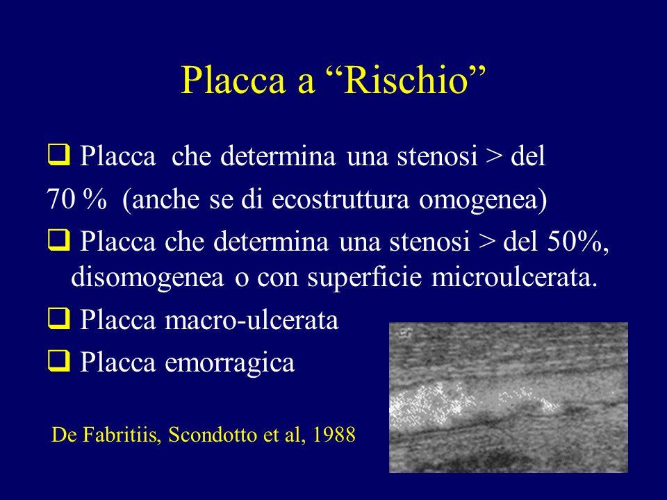 Placca a Rischio Placca che determina una stenosi > del