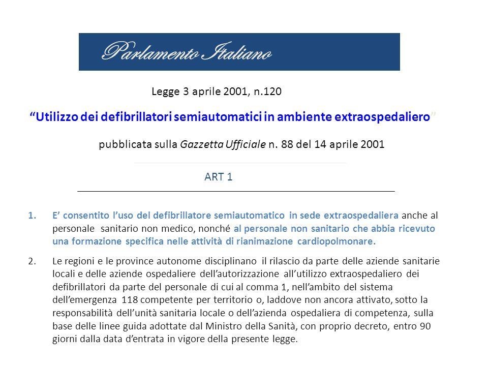 Parlamento Italiano Legge 3 aprile 2001, n.120. Utilizzo dei defibrillatori semiautomatici in ambiente extraospedaliero