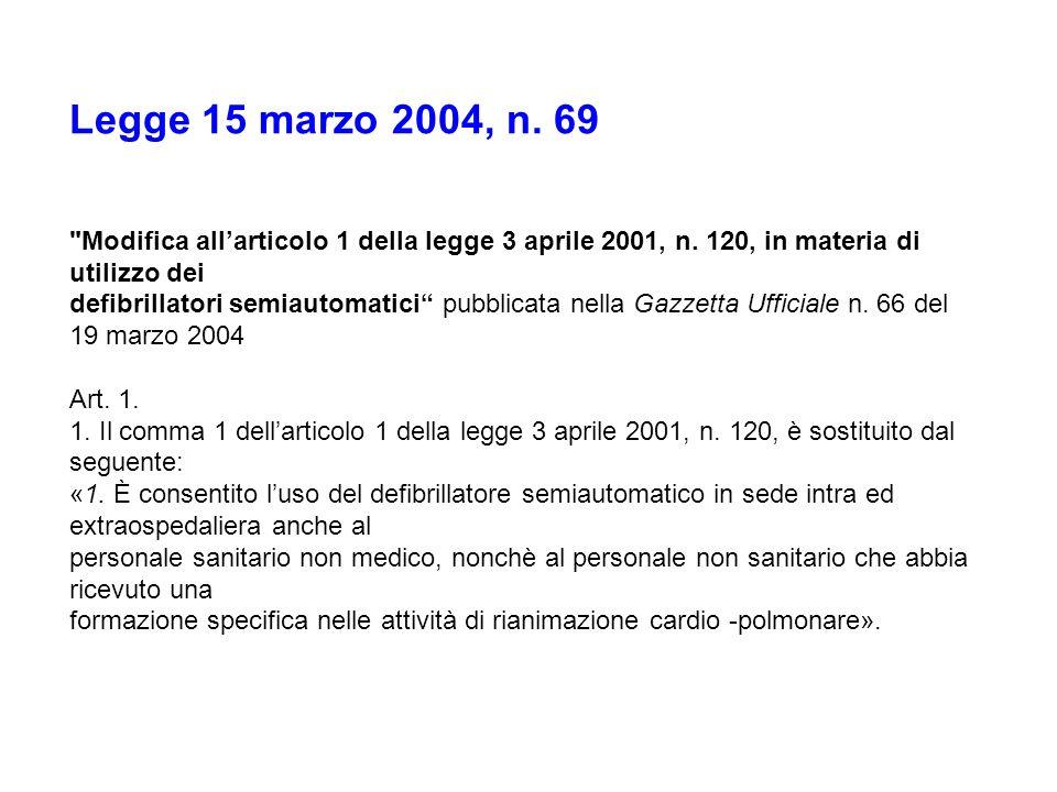 Legge 15 marzo 2004, n. 69 Modifica all'articolo 1 della legge 3 aprile 2001, n. 120, in materia di utilizzo dei.