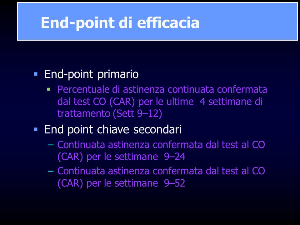 End-point di efficacia
