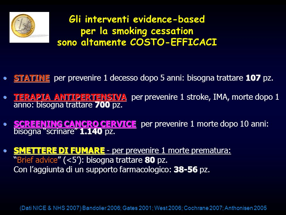 Gli interventi evidence-based per la smoking cessation sono altamente COSTO-EFFICACI