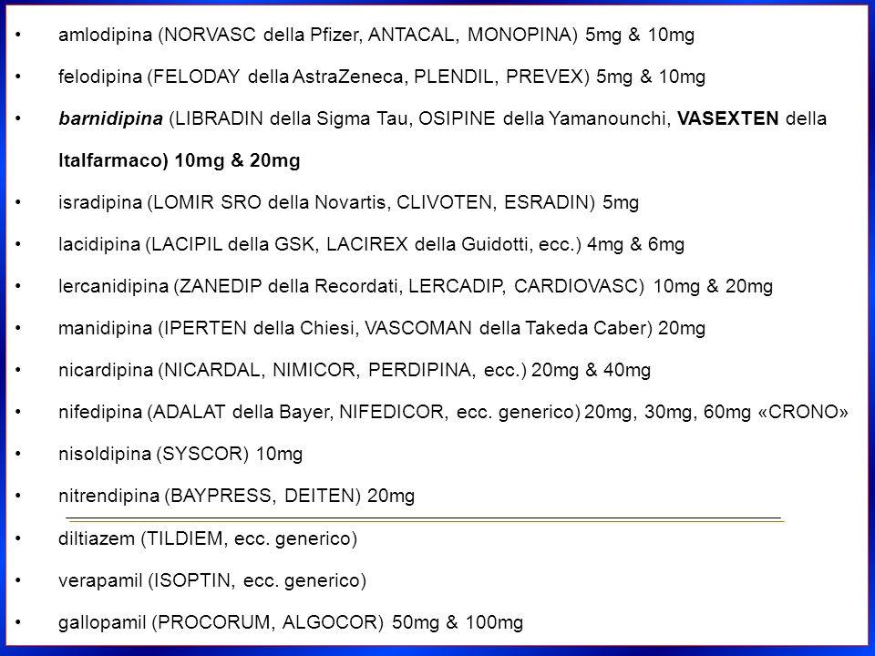 amlodipina (NORVASC della Pfizer, ANTACAL, MONOPINA) 5mg & 10mg