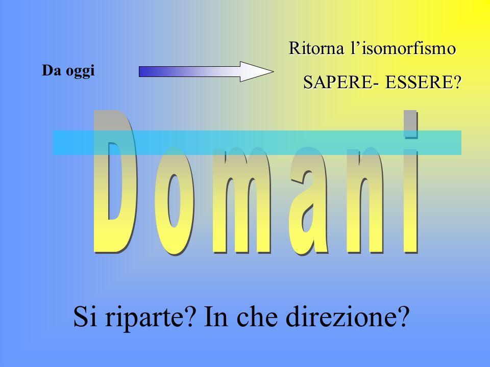 Domani Si riparte In che direzione Ritorna l'isomorfismo