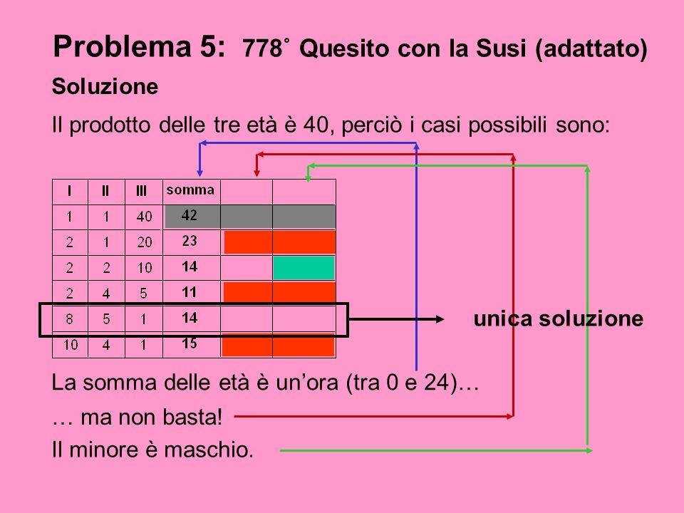 Problema 5: 778˚ Quesito con la Susi (adattato)