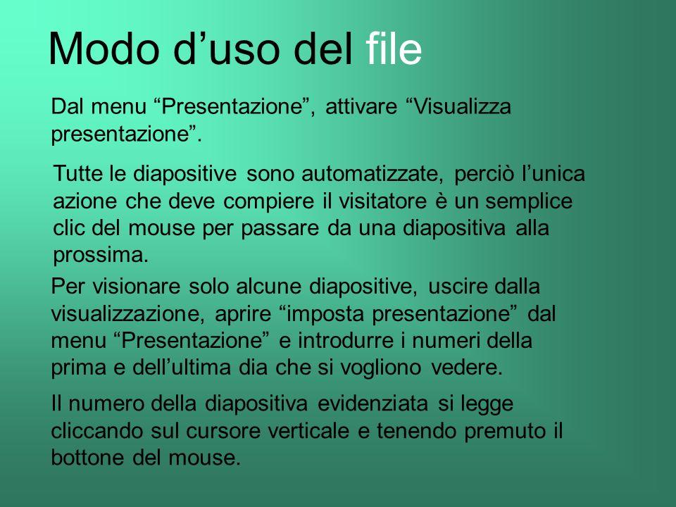 Modo d'uso del file Dal menu Presentazione , attivare Visualizza presentazione .