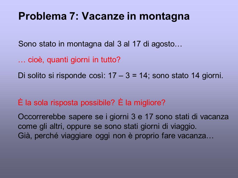 Problema 7: Vacanze in montagna