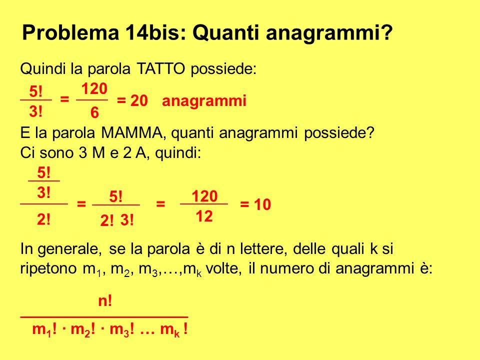 Problema 14bis: Quanti anagrammi