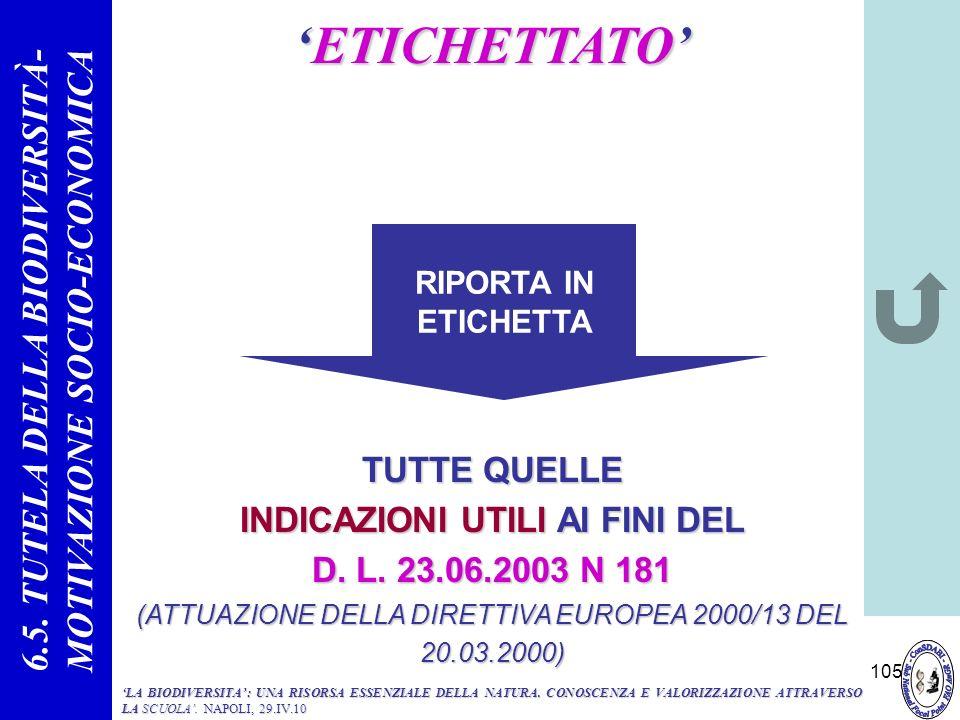 6.5. TUTELA DELLA BIODIVERSITÀ- MOTIVAZIONE SOCIO-ECONOMICA
