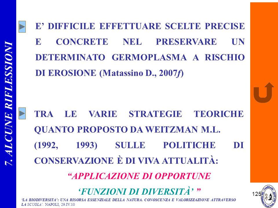 APPLICAZIONE DI OPPORTUNE 'FUNZIONI DI DIVERSITÀ'